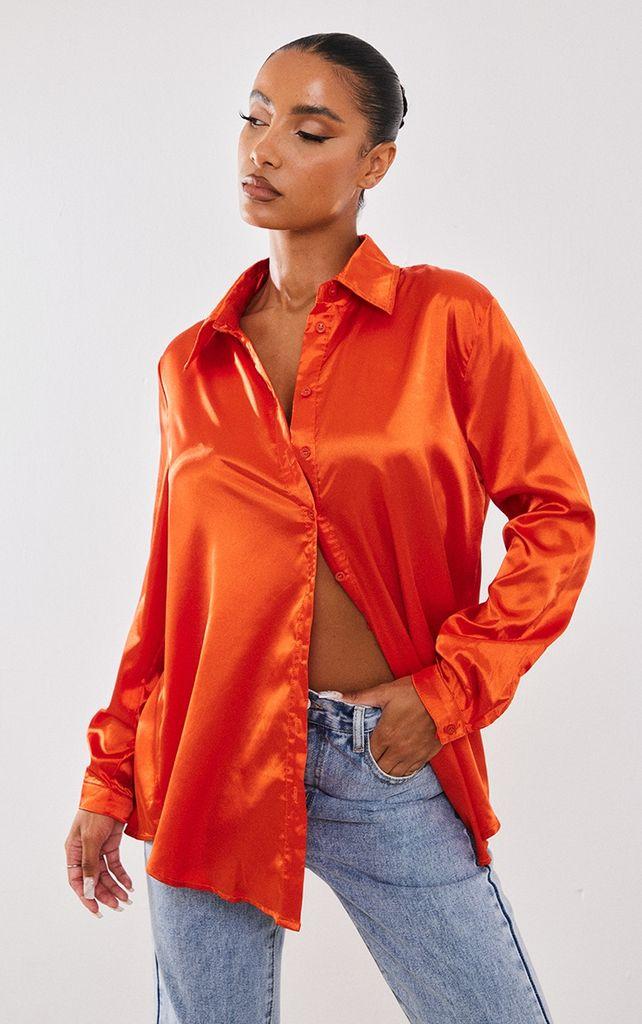 Orange Satin Button Front Shirt, Orange