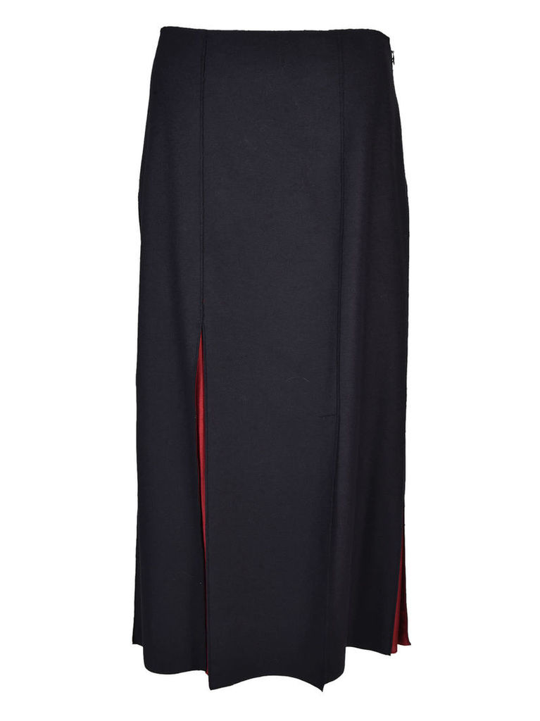 Jil Sander Navy Slit Detail Skirt