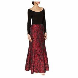 Gina Bacconi Octavia Jacquard Maxi Dress, Red/Black