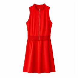 Zip-Up A-Line Dress with Ruffled Collar