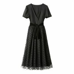Polka Dot Velour Belt Wrapover Dress
