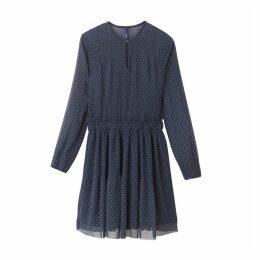 Mesh Style Polka Dot Print Dress