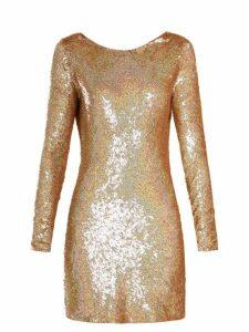 Ashish - Cowl-back Sequin-embellished Long-sleeved Dress - Womens - Gold