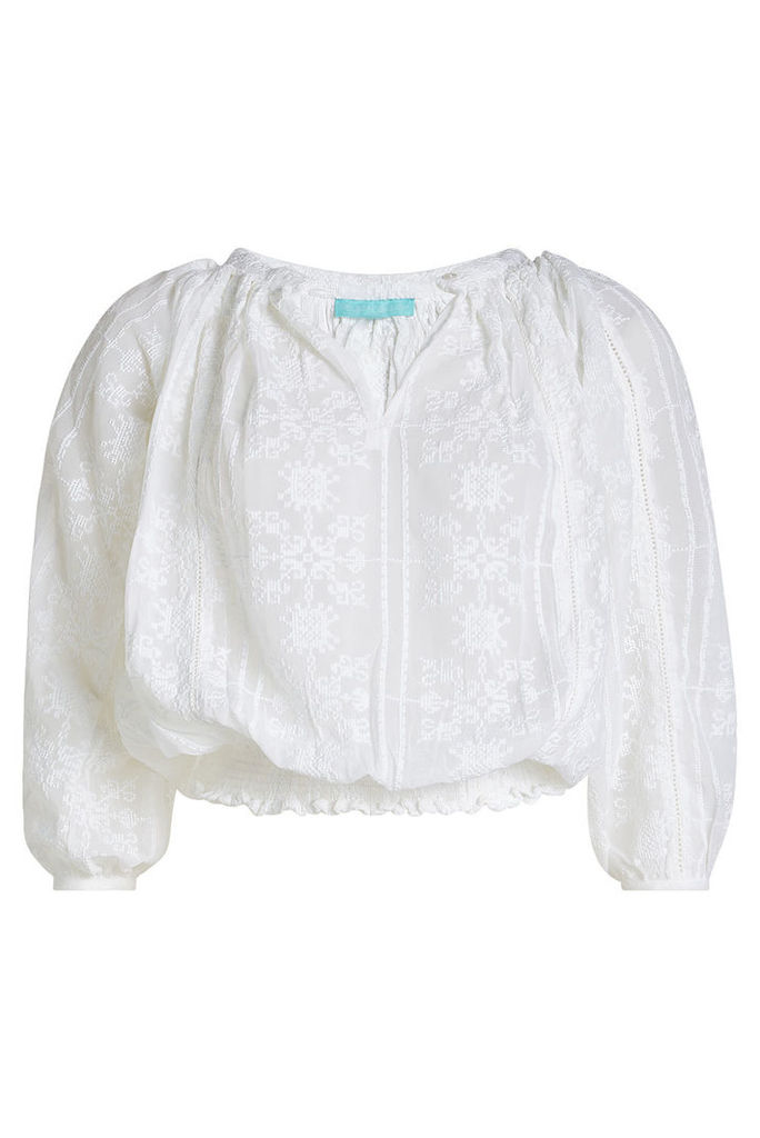 Melissa Odabash Alexa Embroidered Georgette Blouse