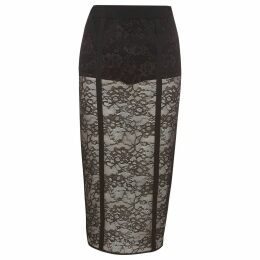 Womens Black lace panel pencil skirt