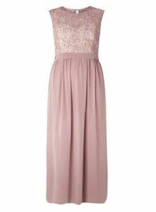 **Little Mistress Crochet Maxi Dress, Pink