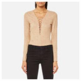T by Alexander Wang Women's Stretch Faux Suede Lace Up Bodysuit - Camel