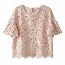 Cropped Ruffled Sleeve Lace Blouse