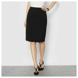 Crêpe Pencil Skirt with Scalloped Detail