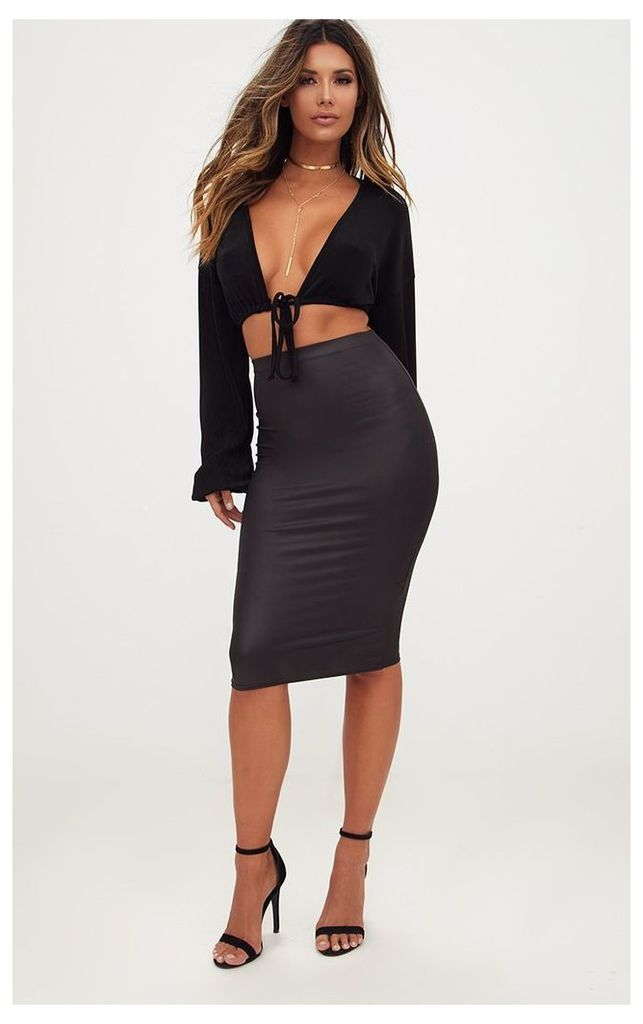 Black Leather Look Midi Skirt, Black