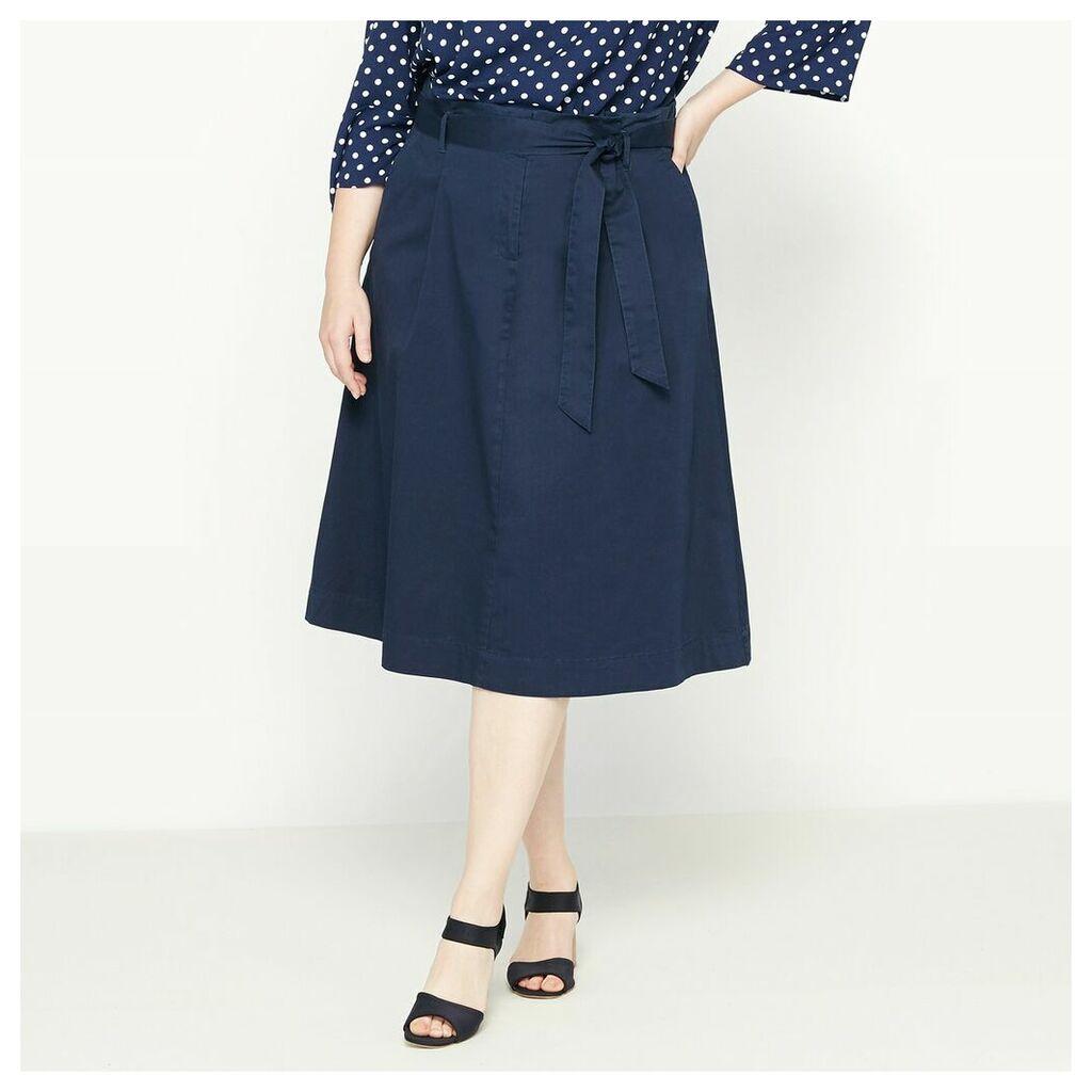 Flared Skirt with Tie Waist Belt