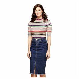 Long Frayed Denim Skirt