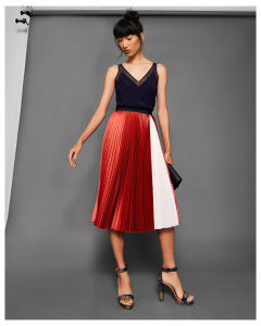 Ted Baker Colour-block pleated midi skirt Brick Red