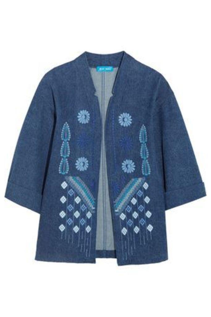 M.i.h Jeans Woman Embroidered Denim Jacket Mid Denim Size XS