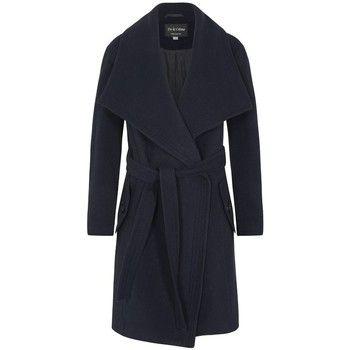 De La Creme  Winter Wool Cashmere Wrap Coat with Large Collar  women's Parka in Blue