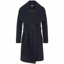 De La Creme  Winter Wool Cashmere Wrap Coat with Large Collar  women's Parka in Blue