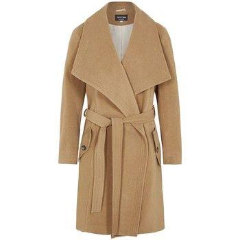 De La Creme  Winter Wool Cashmere Wrap Coat with Large Collar  women's Parka in Beige