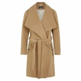 De La Creme  Winter Wool Cashmere Wrap Coat with Large Collar  women's Parka in Beige