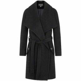 De La Creme  Winter Wool Cashmere Wrap Coat with Large Collar  women's Parka in Black