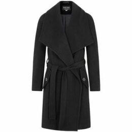 De La Creme  Winter Wool Cashmere Wrap Coat with Large Collar  women's Parka in Black