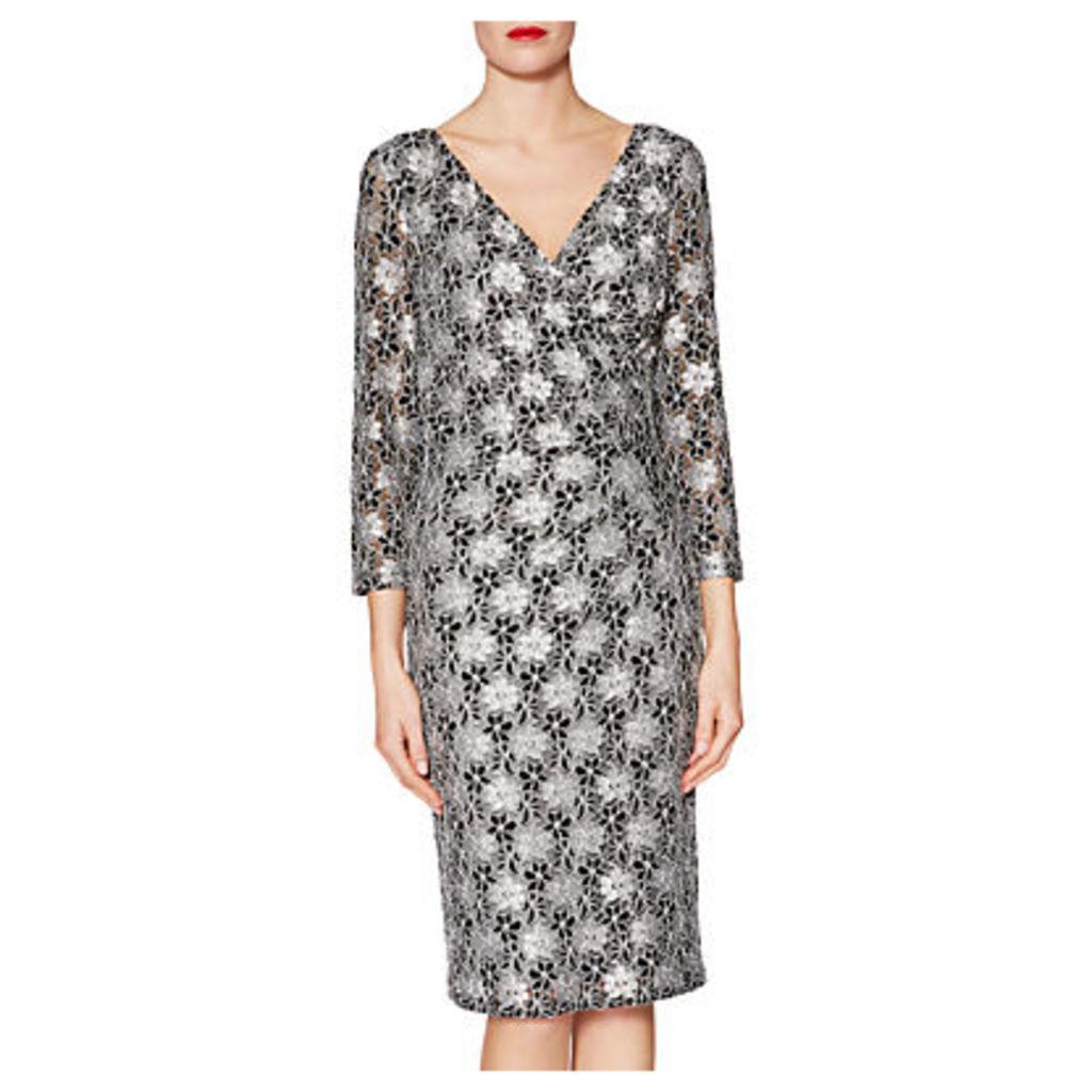 aa0f514ae868 Gina Bacconi Monica Floral Motif Lace Dress, Black/White by Gina ...