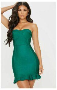 Emerald Green Bandage Frill Hem Bodycon Dress, Emerald Green
