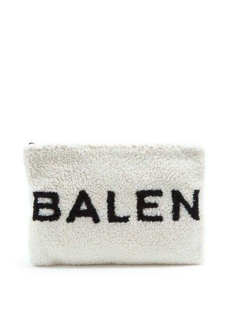 Balenciaga - Shearling Pouch - Womens - White Black