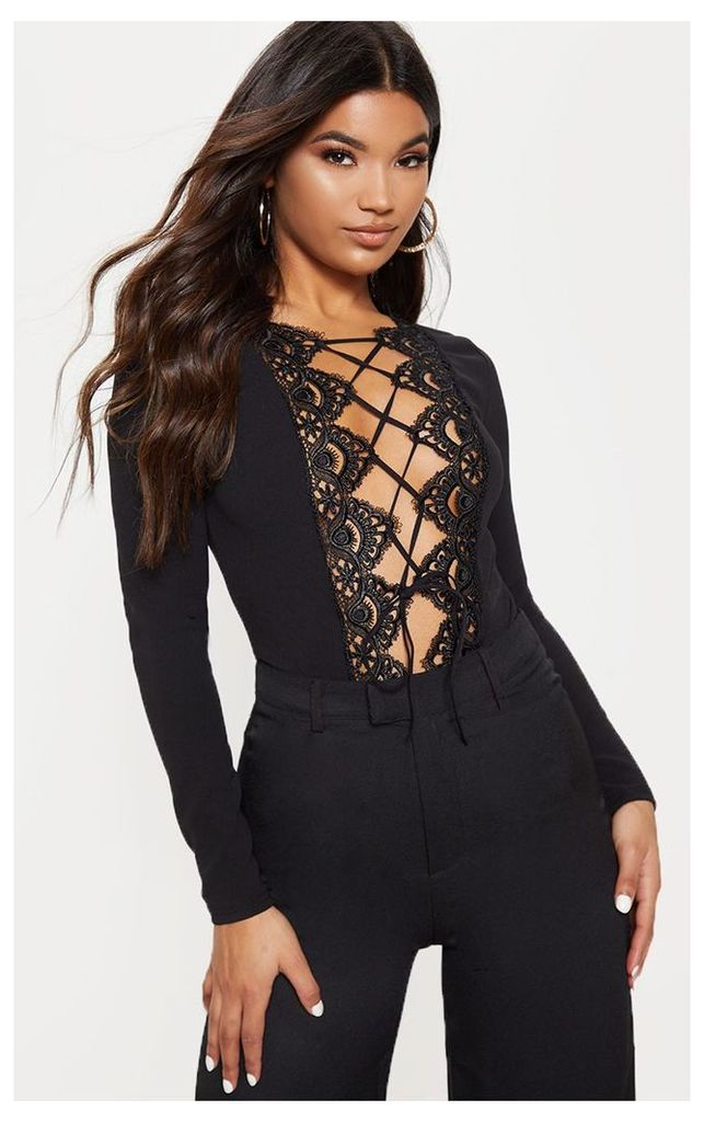 Black Lace Up Longsleeve Thong Bodysuit, Black