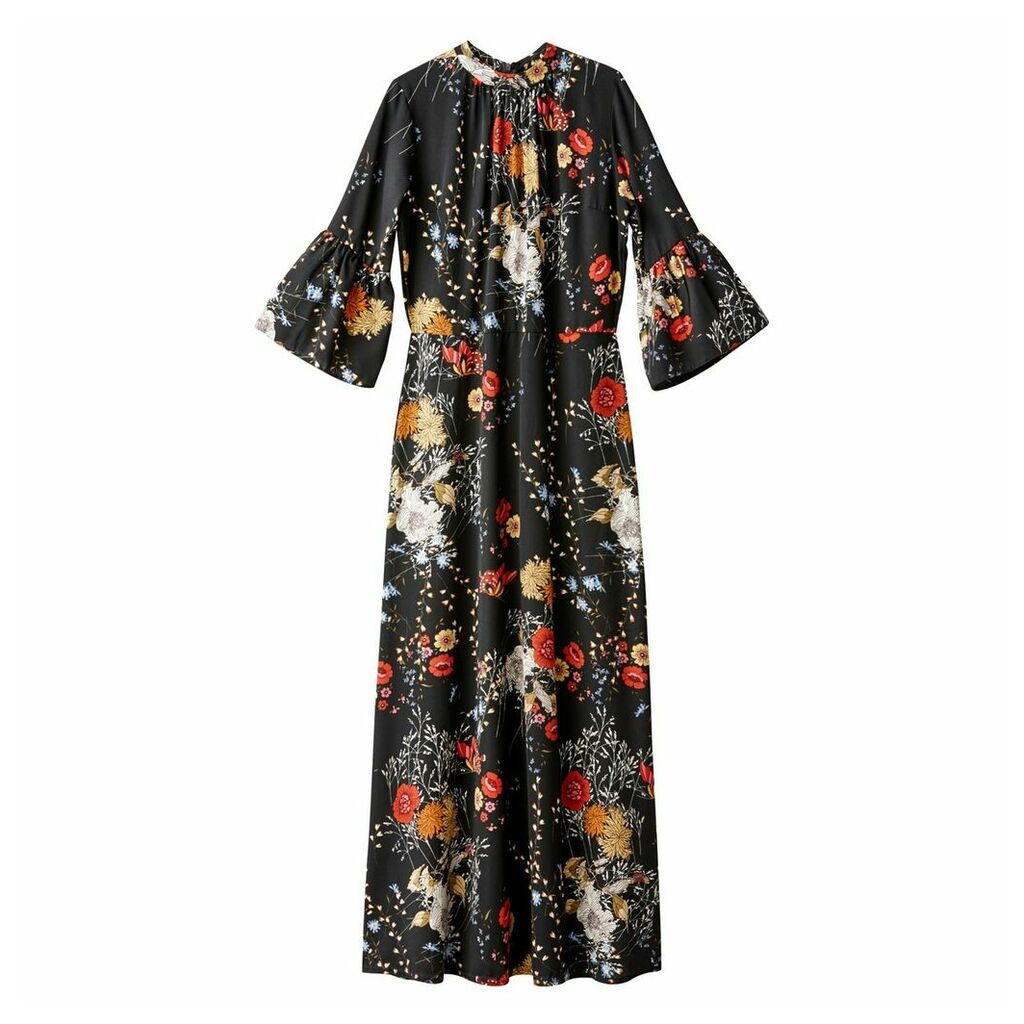 Floral Print Maxi Dress with Peplum Sleeves