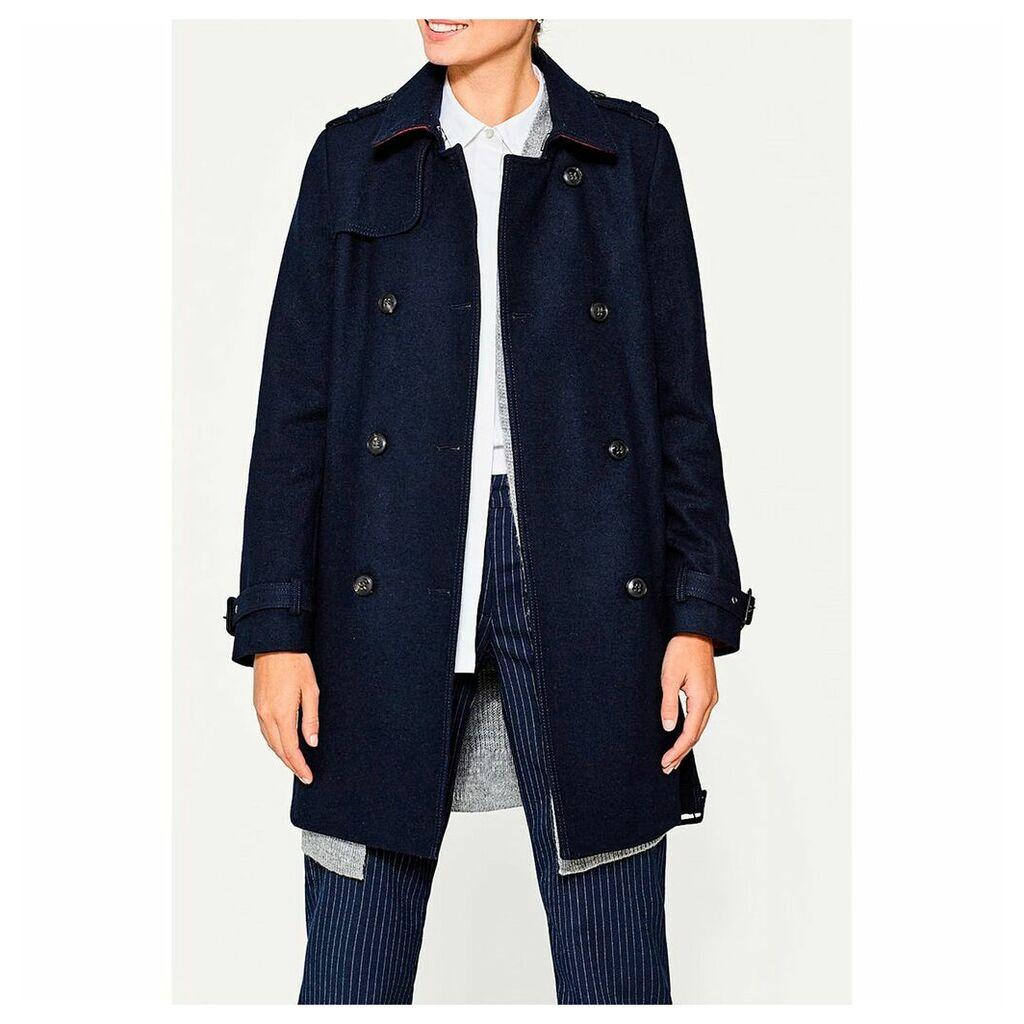 Long Wool Blend Pea Coat with Belt