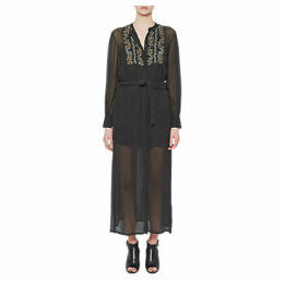 French Connection Donna Sheer Tie Waist Maxi Dress, Ink Green