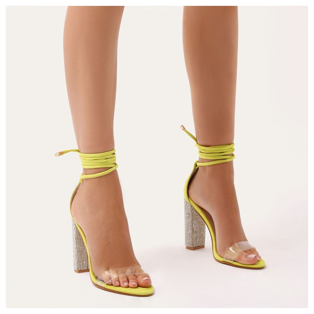 7cad85bc300 Fatale Diamante Perspex Lace Up Heels in Lime Faux Suede