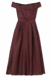 Roland Mouret - Bentham Off-the-shoulder Metallic Plissé-organza Midi Dress - Grape