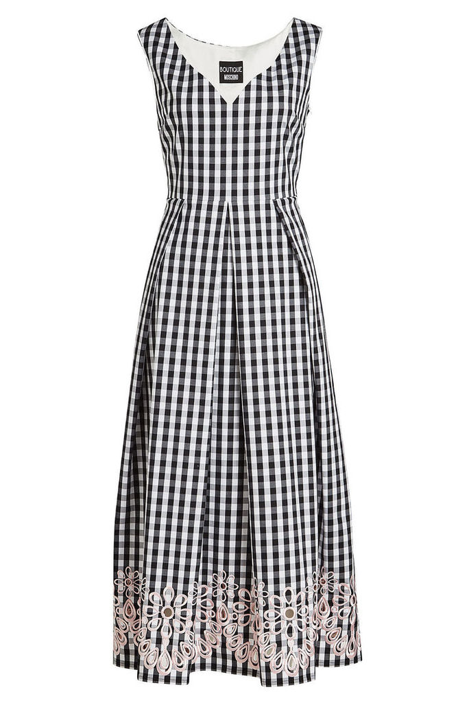 Boutique Moschino Embroidered Gingham Dress