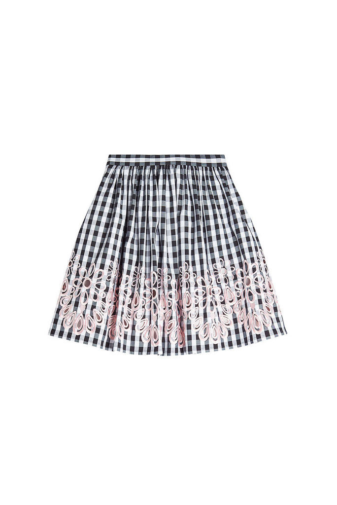 Boutique Moschino Embroidered Gingham Skirt