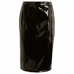 Womens Black vinyl front split pencil skirt