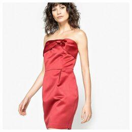 Satin Feel Strapless Bow Dress