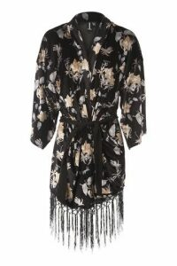 Fringed Velvet Kimono Jacket
