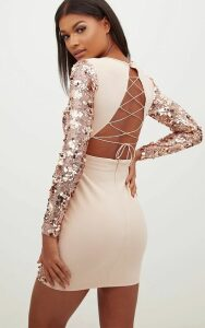 Rose Gold Sequin Front Long Sleeve Back Tie Detail Bodycon Dress, Pink