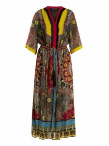 Etro - Jungle Print Fringe Trimmed Silk Dress - Womens - Black Multi