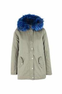 Faux Fur Hood Parka Coat