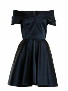 Emilio De La Morena - Tamara Off The Shoulder Stretch Silk Dress - Womens - Navy