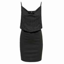 Low Cowl Neck Dress with Metallic Detail