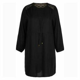 Plain Long-Sleeved Midi Shift Dress
