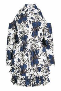 Nina Ricci Printed Cotton Cold Shoulder Dress