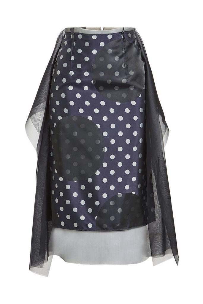 Maison Margiela Dots Jacquard Skirt with Chiffon