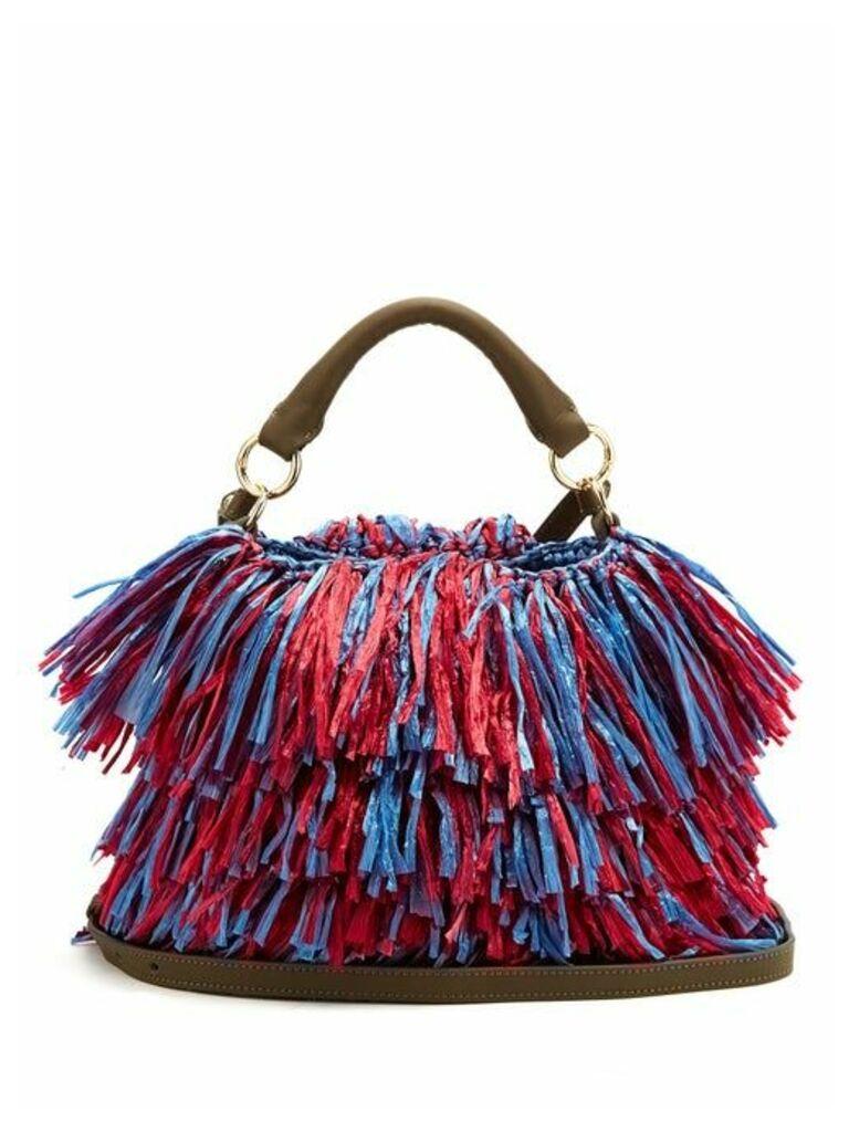 Diane Von Furstenberg - Raffia Fringe Bucket Bag - Womens - Pink Multi