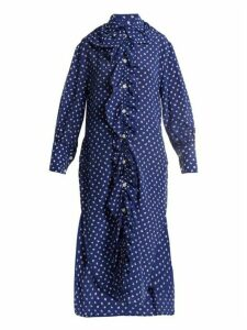 Marni - Ruffled Placket Fleck Print Silk Shirtdress - Womens - Blue White