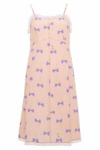 Miu Miu Silk Dress With Bow Print