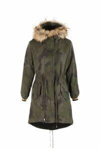 Camo Tie Waist Parka Coat